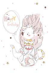 Pretty little hedgehog- hand drawn doodle