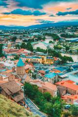 Top View Old Colorful Town, Kura Mtkvari River Summer Tbilisi, Georgia