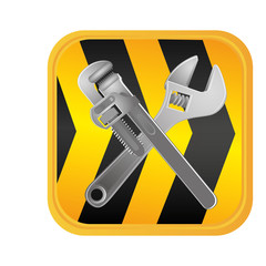 caution ribbon with wrenchs tools, vector illustration design