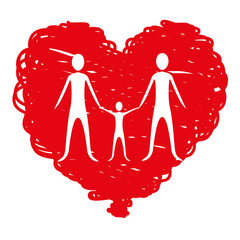 family together inside of heart, vector illustration design