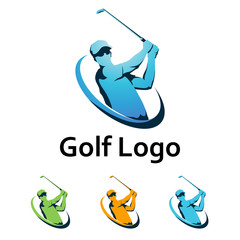 Golf Logo Cool Swing and Hit the Ball