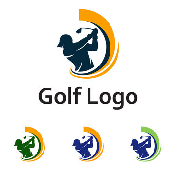 Golf Logo Golfer Swing and Hit the Ball