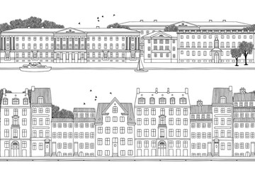 Two hand drawn seamless city banners - Helsinki & Copenhagen style houses