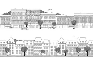 Two hand drawn seamless city banners - Luxembourg & Oslo style houses