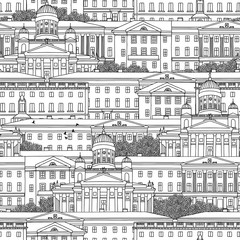 Hand drawn seamless pattern of Helsinki
