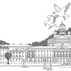 Hand drawn black and white illustration of Helsinki, Finland with empty space for text