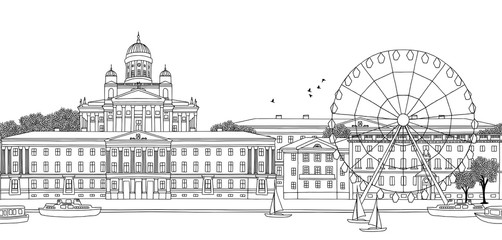 Helsinki, Finland - Seamless banner of the city's skyline, hand drawn black and white illustration