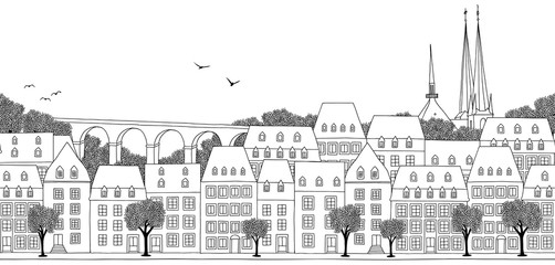 Luxembourg City, Luxembourg - Seamless banner of the city's skyline, hand drawn black and white illustration