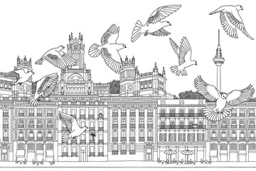 Birds over Madrid - hand drawn black and white illustration of the city with a flock of pigeons