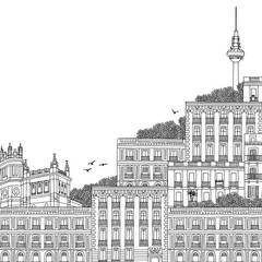 Hand drawn black and white illustration of Madrid, Spain, with TV Tower in the background and part of the Palace at Plaza de Cibeles, with empty space for text
