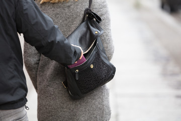 Person Stealing Purse From Handbag