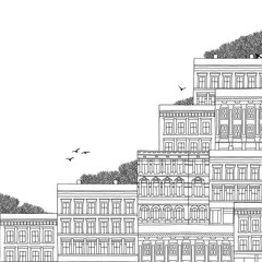 Hand drawn black and white illustration of Norwegian style houses with empty space for text