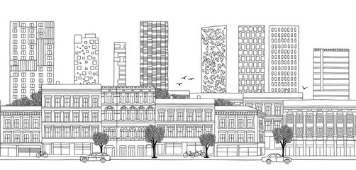 Oslo, Norway - Seamless banner of the city's skyline, hand drawn black and white illustration