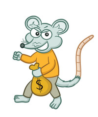 Mouse Thief Sneaking with Money Bag Cartoon Illustration