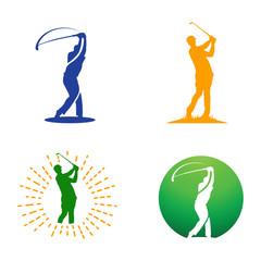 Golf Man Golfer Body Silhouette Abstract Logo Illustration