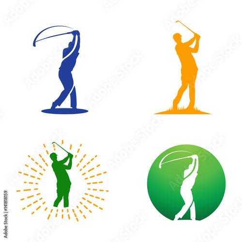 """Golf Man Golfer Body Silhouette Abstract Logo"