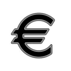 The Euro Icon on A white Background.
