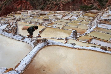 Maras' coloured salt flats in the Inca's sacred Valley Peru South America