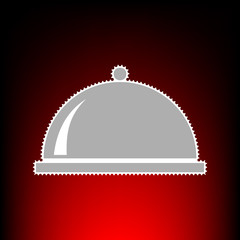 Server sign illustration. Postage stamp or old photo style on red-black gradient background.