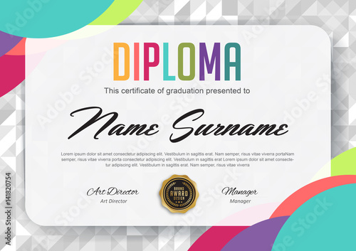 preschool kids diploma certificate background design template stock
