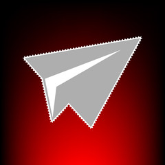Paper airplane sign. Postage stamp or old photo style on red-black gradient background.