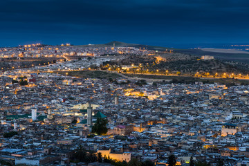 Fes, Morocco, Africa. Panoramic view of the medina in the blue hour.