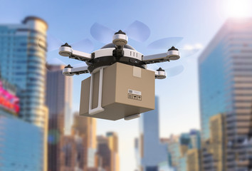 Wall Mural - delivery drone flying