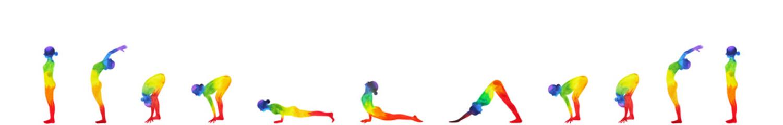 yoga sun salutation A, surya namaskar A sequence, watercolor painting hand drawn design illustration