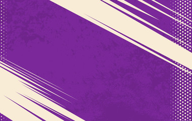 Vector Comic Book Background. Grunge halftone background. Violet striped backdrop