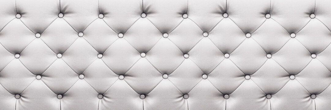 horizontal elegant white leather texture with buttons for background and design