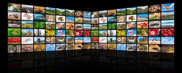 Screens forming a big multimedia broadcast video wall