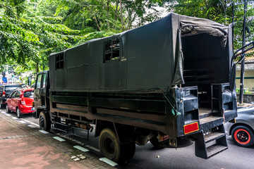 indonesian military truck stucked in a traffic jam photo taken in Jakarta Indonesia