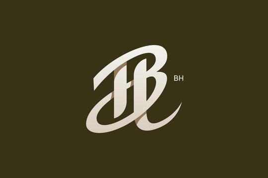 Letter B and H Monogram Logo Design Vector