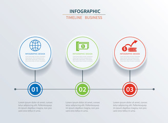 Business infographics template 3 data with circle. Can be used for workflow layout, diagram, number options,  web design, presentations