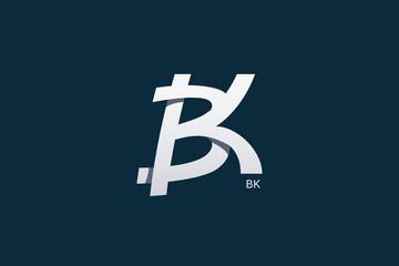 Letter B and K Monogram Logo Design Vector