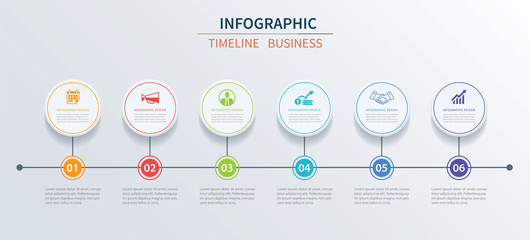 Business infographics template 6 data with circle. Can be used for workflow layout, diagram, number options,  web design, presentations