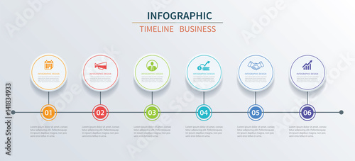 Business Infographics Template 6 Data With Circle Can Be Used For Workflow Layout Diagram
