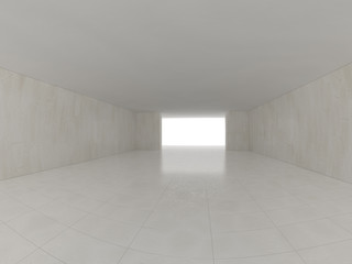 High definition empty white room. 3D rendering