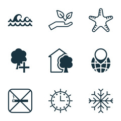 Set Of 9 Eco-Friendly Icons. Includes Snow, Sun Clock, House And Other Symbols. Beautiful Design Elements.