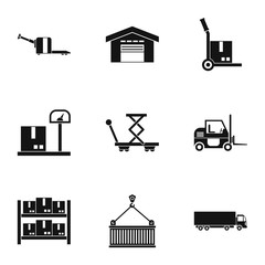 Cargo icons set, simple style