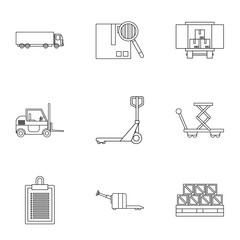Cargo packing icons set, outline style