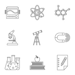 Science education icons set, outline style