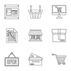 Purchase icons set, outline style