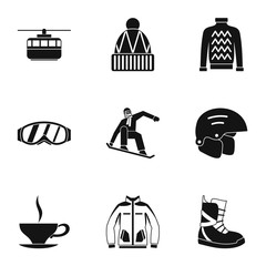 Snowboard icons set, simple style