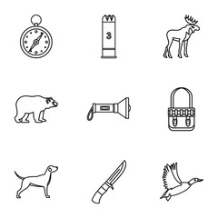 Hunting icons set, outline style