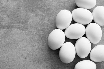 Eggs on a concrete background with copy space