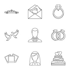 Wedding icons set, outline style