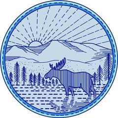 Moose River Flat Mountains Sunburst Circle Mono Line