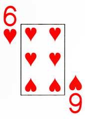 large index playing card 6 of hearts