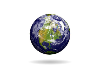 Earth isolated on white, North America world map. maps courtesy of NASA